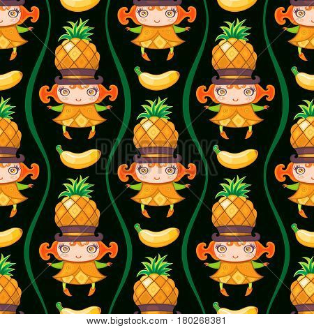 Seamless colorful pattern with cute little girl dressed fruity costume, wearing pineapple hat and banana fruit. Endless texture isolated on white background. Can be used as wallpaper or wrapping paper. Vector illustration.