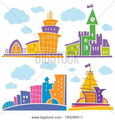 Set of different fantastic houses. Use it for Exterior construction designs including city buildings. Beautiful castle, modern cottages and colorful cityscape. Isolated on a white background.