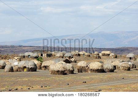 Traditional round house of people from the Turkana tribe on the shore of the lake Turkana in Kenya