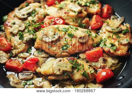 Delicious fresh chicken marsala, closeup