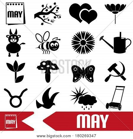May Month Theme Set Of Simple Icons Eps10