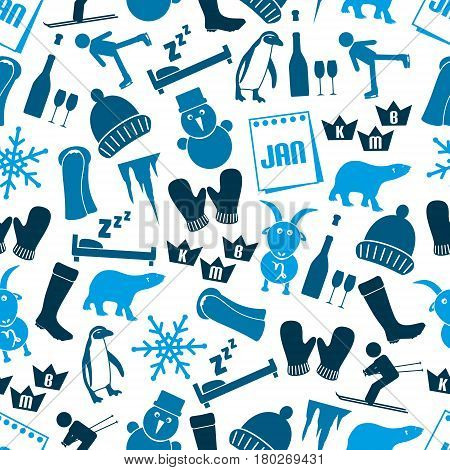January Month Theme Set Of Simple Icons Seamless Blue Pattern Eps10