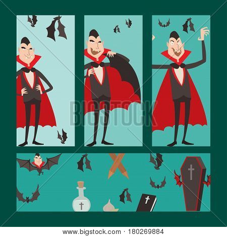 Cartoon dracula vector cards symbols vampire icons character funny man comic halloween and magic spell witchcraft ghost night devil tale illustration. Horror holiday spooky cute elements.