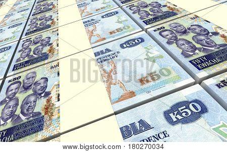 Zambian kwacha bills stacks background. 3D illustration.
