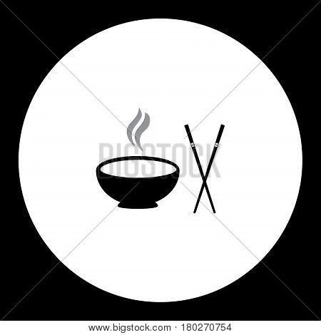 Hot Food Bowl And Japan Food Stick Isolated Icon Eps10