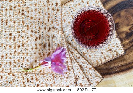 Traditional food and drinks - matzo and red wine for Jewish Passover celebration