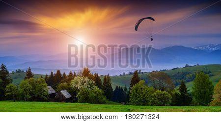 Paraglide In A Carpathian Sky