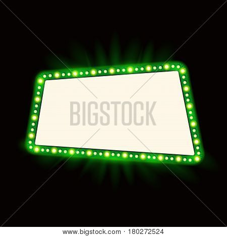 Retro Showtime 1950s Sign Design. Neon Lamps billboard on dark background. American casino advertisement, vector illustration. Cinema and theater Signage Light Bulbs Frame for Sale flyers