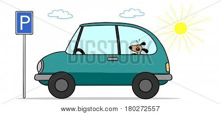 Cartoon dog inside car in the sun as heat stroke concept