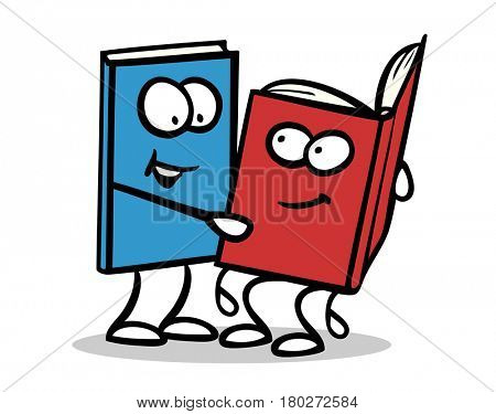 Funny Book as cartoon readling aloud another cartoon character