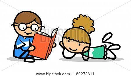 Children as cartoon boy reading book aloud to girl