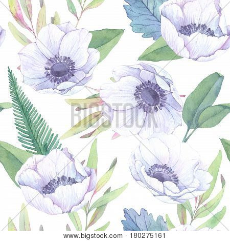 Hand Drawn Watercolor Seamless Pattern. Spring Leaves, Branches, Anemones. Floral Backgroung. Perfec