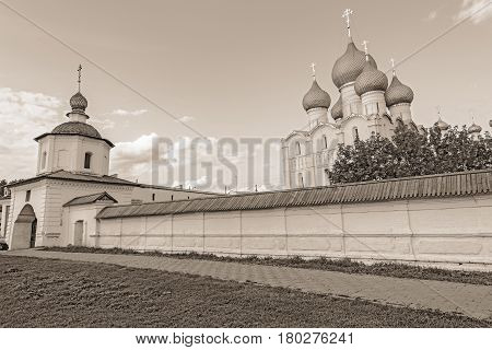Rostov Kremlin. The ancient town of Rostov The Great is a tourist center of the Golden Ring of Russia.