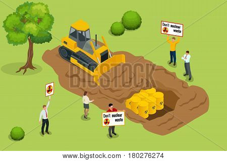 Radioactive waste concept. People protest environmental pollution with radioactive waste. Flat 3d vector isometric illustratoin.