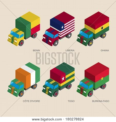 Set of isometric 3d cargo trucks with flags of African countries. Cars with standards -  Benin, Liberia, Ghana, Cote d'Ivoire (Ivory Coast), Togo, Burkina Faso. Transport icons for infographics.