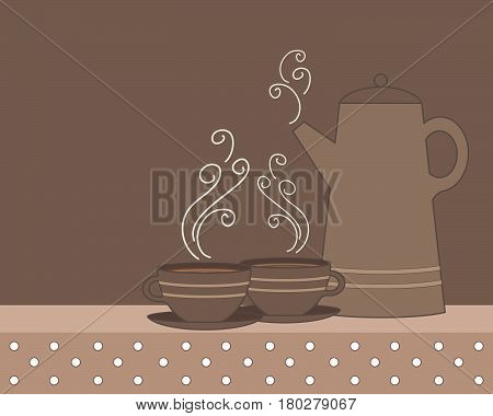 an illustration of a coffee pot and cups in shades of brown with polka dot vintage tablecloth and space for text