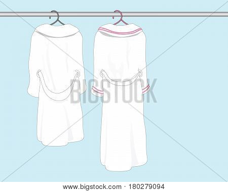 an illustration of two white bath robes on clothes hangers in a bathroom with space for text