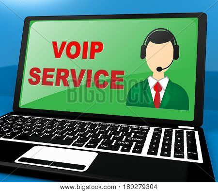 Voip Service Shows Internet Help 3D Illustration