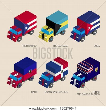 Set of isometric 3d cargo trucks with flags of Caribbean countries. Cars with standards -  Cuba, Dominican Republic, Haiti, Bahamas, Puerto Rico. Transport icons for infographics.