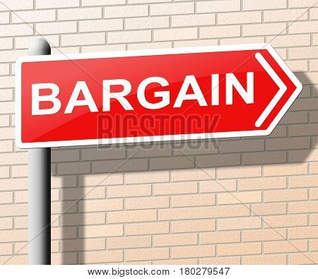 Bargain Sign Means Special Offer 3D Illustration