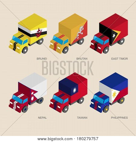Set of isometric 3d cargo trucks with flags of Asian countries. Cars with standards -  Butan, Brunei, East Timor, Nepal, Taiwan, Philippines. Transport icons for infographics.