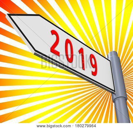 Twenty Nineteen Meaning 2019 New Year 3D Illustration