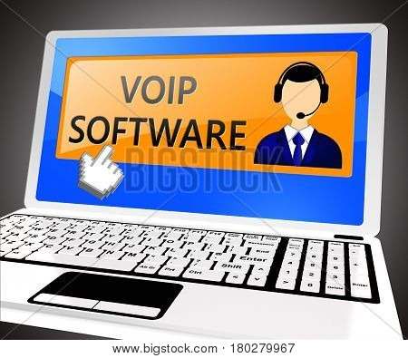 Voip Software Shows Internet Voice 3D Illustration