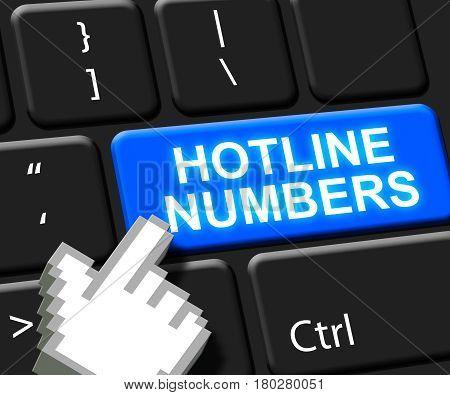 Hotline Numbers Key Shows Online Help 3D Illustration