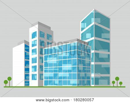 Office Block Displays Corporate Cityscape 3D Illustration