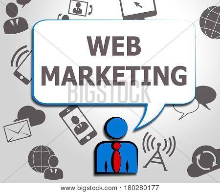 Web Marketing Meaning Sem Sites 3D Illustration