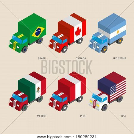 Set of isometric 3d cargo trucks with flags. Cars with standards - Canada, USA, Argentina, Peru, Brazil, Mexico. Transport icons for infographics.