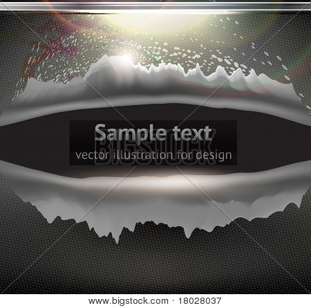 Bullet Hole and Slash at metal abstract background for techno design. Vector eps 10