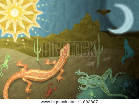 Day to night desert illustration with lizards frog and coyote poster