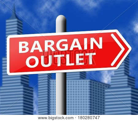 Bargain Outlet Representing Market Discount 3D Illustration