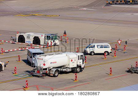 Kloten, Switzerland - 28 March, 2017: view in the Zurich Airport. The Zurich Airport, also known as the Kloten Airport, is the largest airport in Switzerland.
