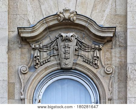 Budapest Hungary Castle Hill buildings decorated window.