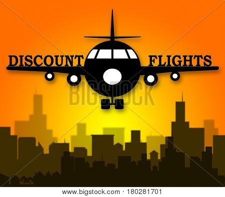 Discount Flights Means Flight Sale 3D Illustration