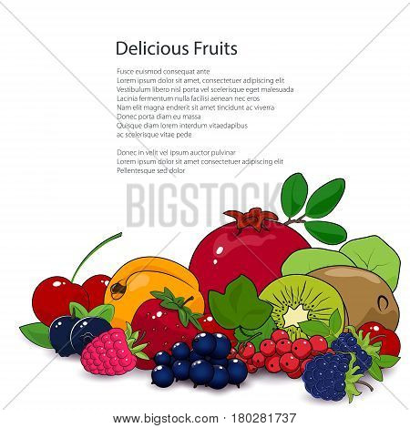 Fresh Summer Tropical Fruits and Berries Isolated on White Background and Text, Healthy Food and Natural Organic Concept ,Poster Brochure Flyer Design, Vector Illustration