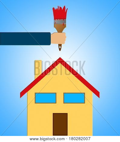 Home Decoration Means House Painting 3D Illustration