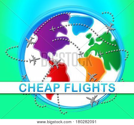 Cheap Flights Represents Low Cost Promo 3D Illustration