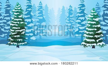 A high quality horizontal seamless background with winter landscape - forest and snow.
