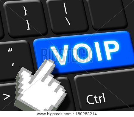 Voip Key Showing Internet Voice 3D Illustration