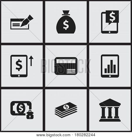 Set Of 9 Editable Banking Icons. Includes Symbols Such As Bank Location, Holdall, Money Card And More. Can Be Used For Web, Mobile, UI And Infographic Design.