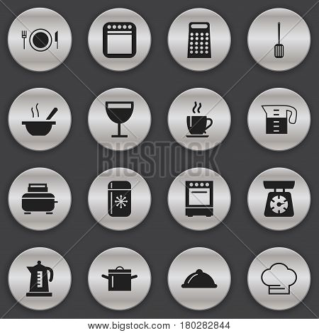 Set Of 16 Editable Kitchen Icons. Includes Symbols Such As Grater, Toaster, Oven And More. Can Be Used For Web, Mobile, UI And Infographic Design.
