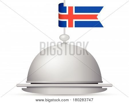 a red white and blue iceland flag platter