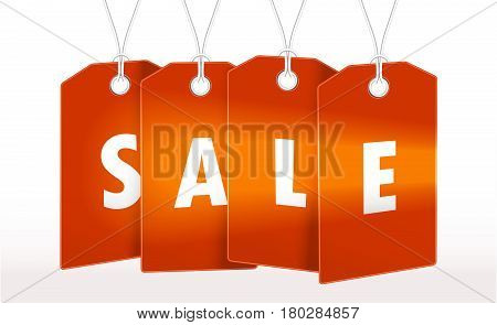 Red Tag label with word sale for seasons design. Vector  Tag label illustration tamplate. Tag label