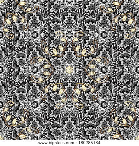 Antique golden repeatable sketch. Golden element on background. Damask seamless pattern repeating background. Golden floral ornament in baroque style.