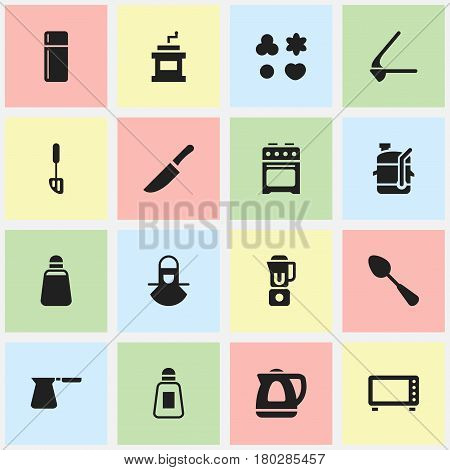 Set Of 16 Editable Cook Icons. Includes Symbols Such As Hand Mixer, Mocha Grinder, Coffee Pot. Can Be Used For Web, Mobile, UI And Infographic Design.