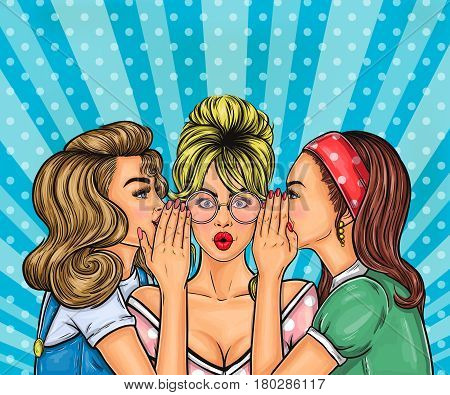 illustration pop art girls share information, sale announcement