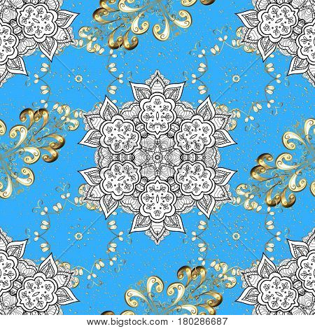 Gold metal with floral pattern. Vector golden floral ornament brocade textile and glass pattern. Blue background with golden elements. Golden pattern.